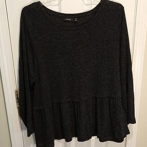 Apt. 9 Charcoal Shimmer Ruffle Top